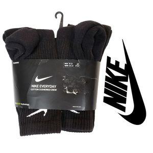 Nike Everyday Cotton Cushioned Black Crew Sock 6pk